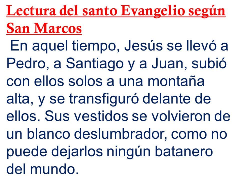 Lectura del santo Evangelio según San Marcos En aquel tiempo, Jesús se llevó a Pedro, a Santiago y a Juan, subió con ellos solos a una montaña alta, y