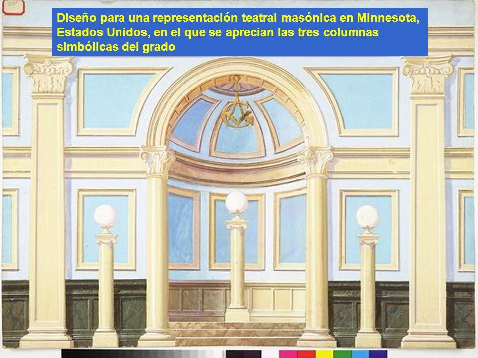 Diseño para una representación teatral masónica en Minnesota, Estados Unidos, en el que se aprecian las tres columnas simbólicas del grado