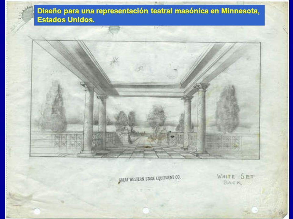 Diseño para una representación teatral masónica en Minnesota, Estados Unidos.