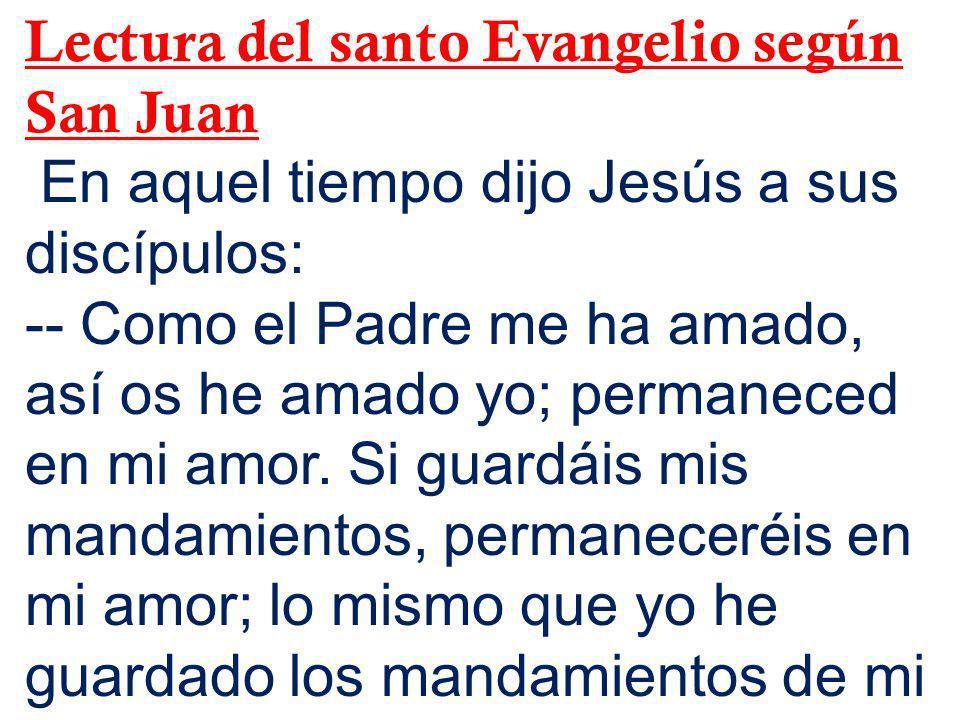 Lectura del santo Evangelio según San Juan En aquel tiempo dijo Jesús a sus discípulos: -- Como el Padre me ha amado, así os he amado yo; permaneced e