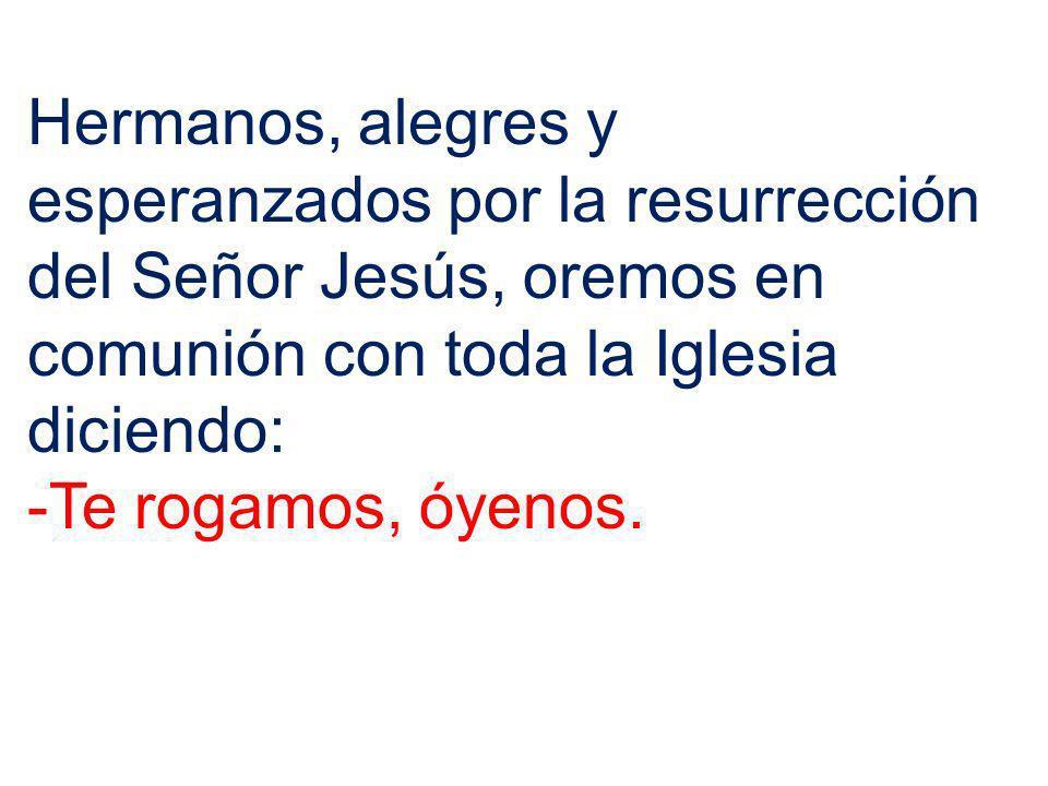 Hermanos, alegres y esperanzados por la resurrección del Señor Jesús, oremos en comunión con toda la Iglesia diciendo: -Te rogamos, óyenos.