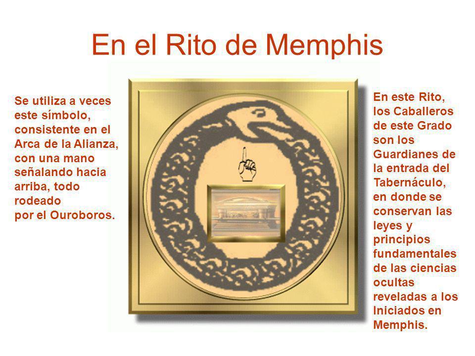 En el Rito de Memphis Se utiliza a veces este símbolo, consistente en el Arca de la Alianza, con una mano señalando hacia arriba, todo rodeado por el