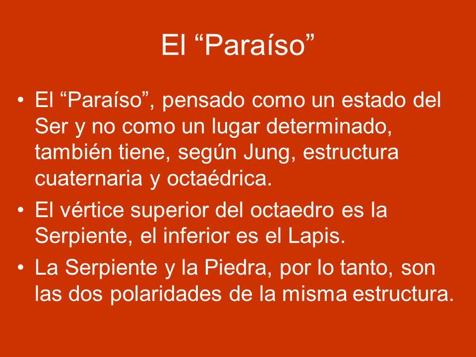 El Paraíso El Paraíso, pensado como un estado del Ser y no como un lugar determinado, también tiene, según Jung, estructura cuaternaria y octaédrica.