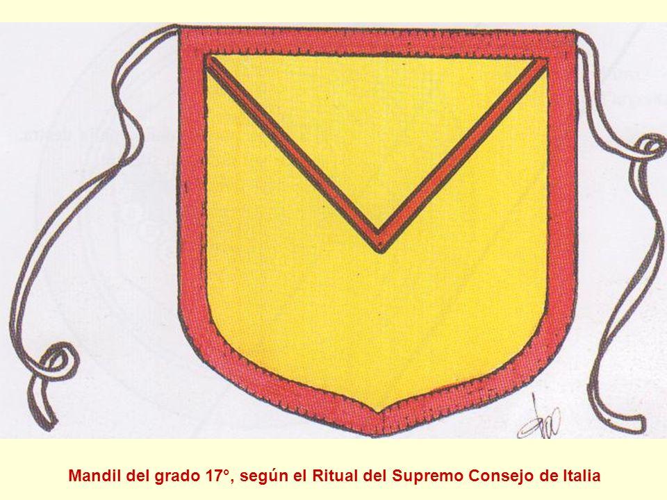 Mandil del grado 17°, según el Ritual del Supremo Consejo de Italia