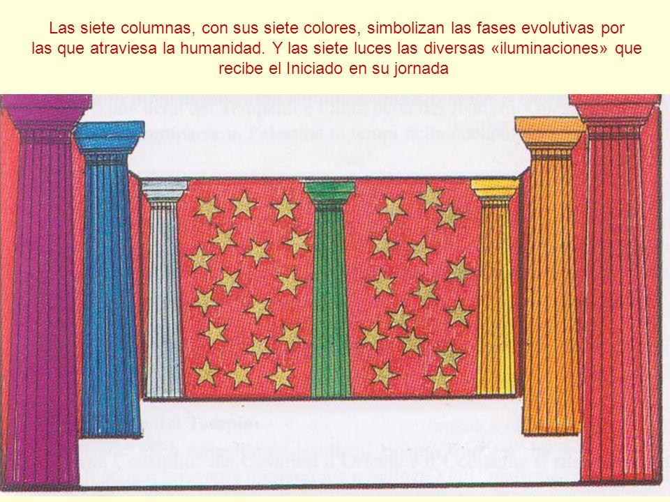 Las siete columnas, con sus siete colores, simbolizan las fases evolutivas por las que atraviesa la humanidad. Y las siete luces las diversas «ilumina