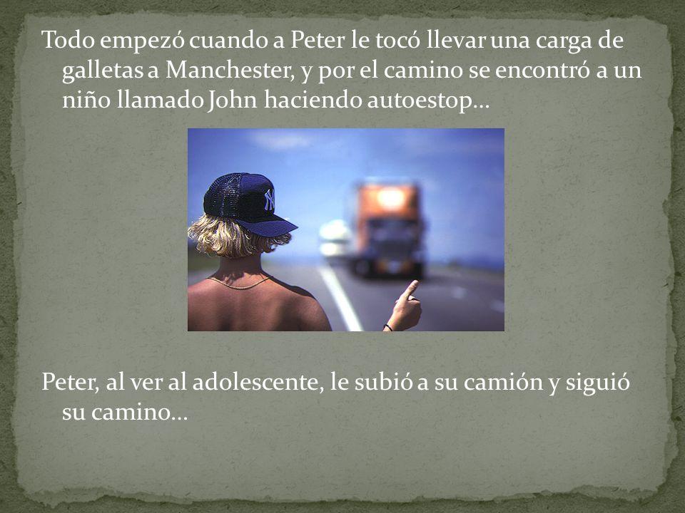 Al cabo de un tiempo, pararon en un cafetería de servicio, Y mientras John tomaba un té Peter tomó un periódico leyó lo siguiente: Niño asesina a su tío y se escapa de casa En este momento Peter empezó a tener ligeras sospechas de John..