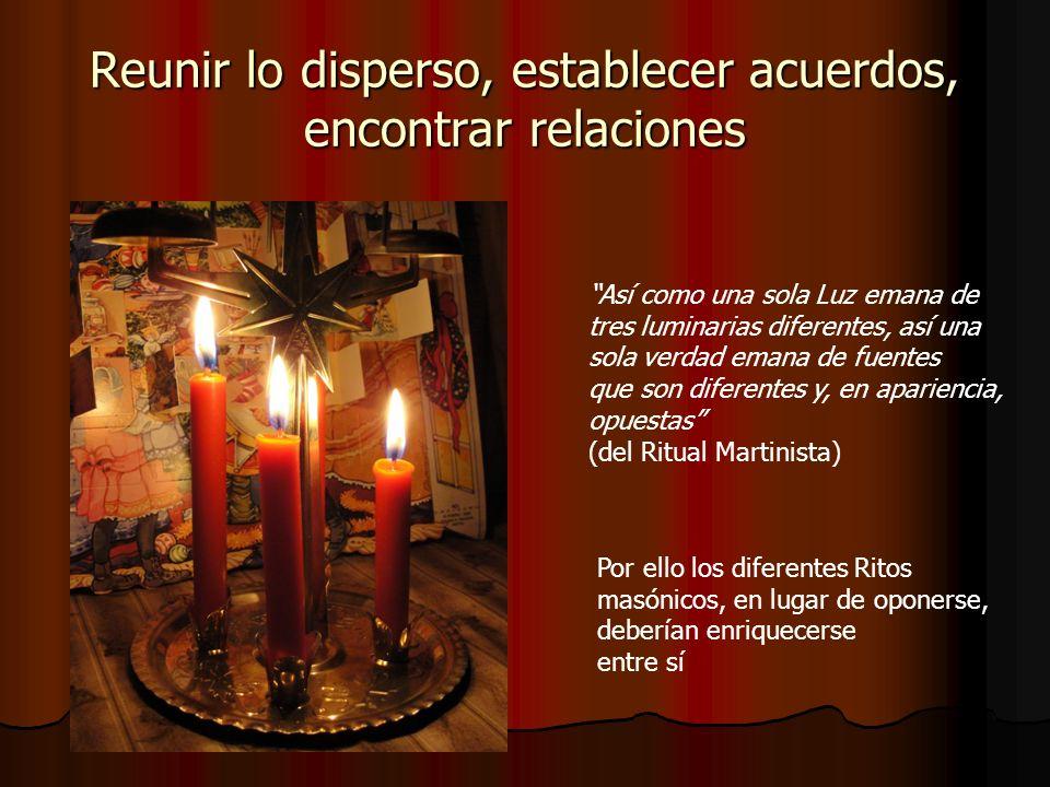 Reunir lo disperso, establecer acuerdos, encontrar relaciones Así como una sola Luz emana de tres luminarias diferentes, así una sola verdad emana de