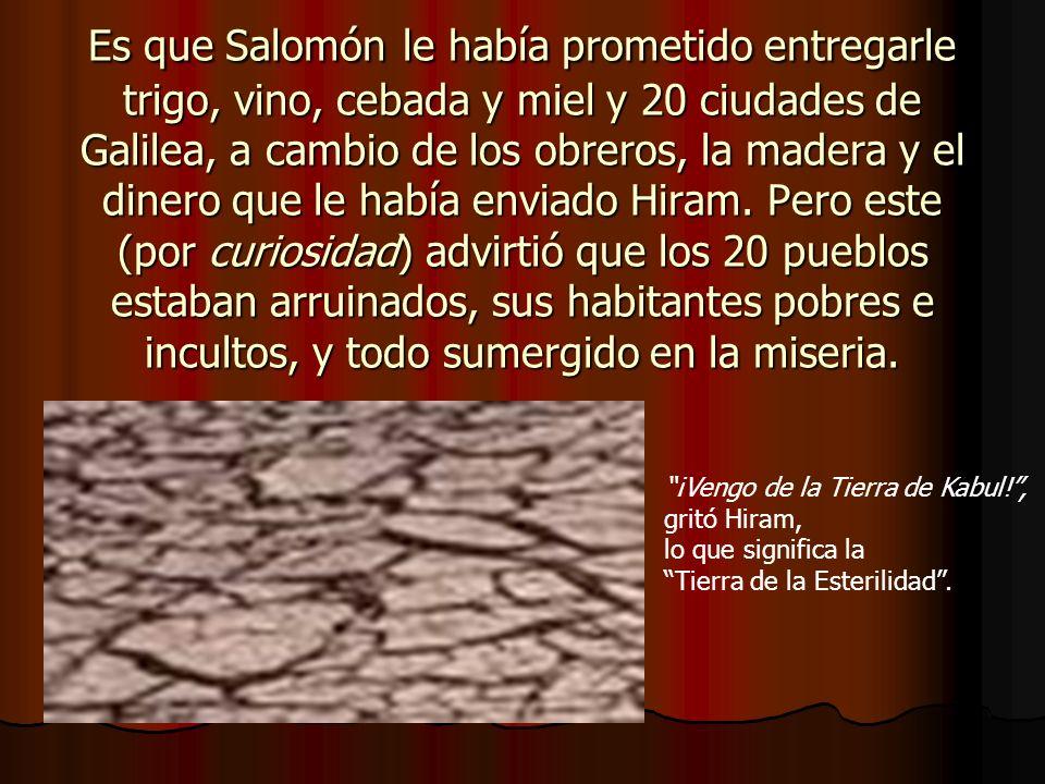 Es que Salomón le había prometido entregarle trigo, vino, cebada y miel y 20 ciudades de Galilea, a cambio de los obreros, la madera y el dinero que l
