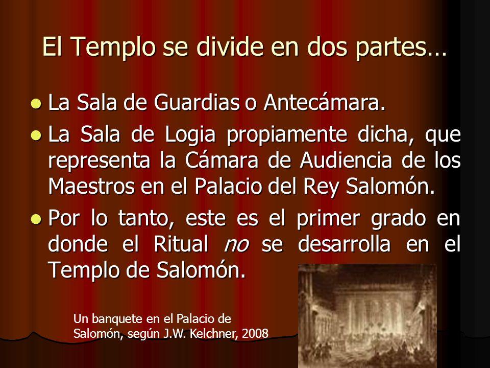 El Templo se divide en dos partes… La Sala de Guardias o Antecámara. La Sala de Guardias o Antecámara. La Sala de Logia propiamente dicha, que represe