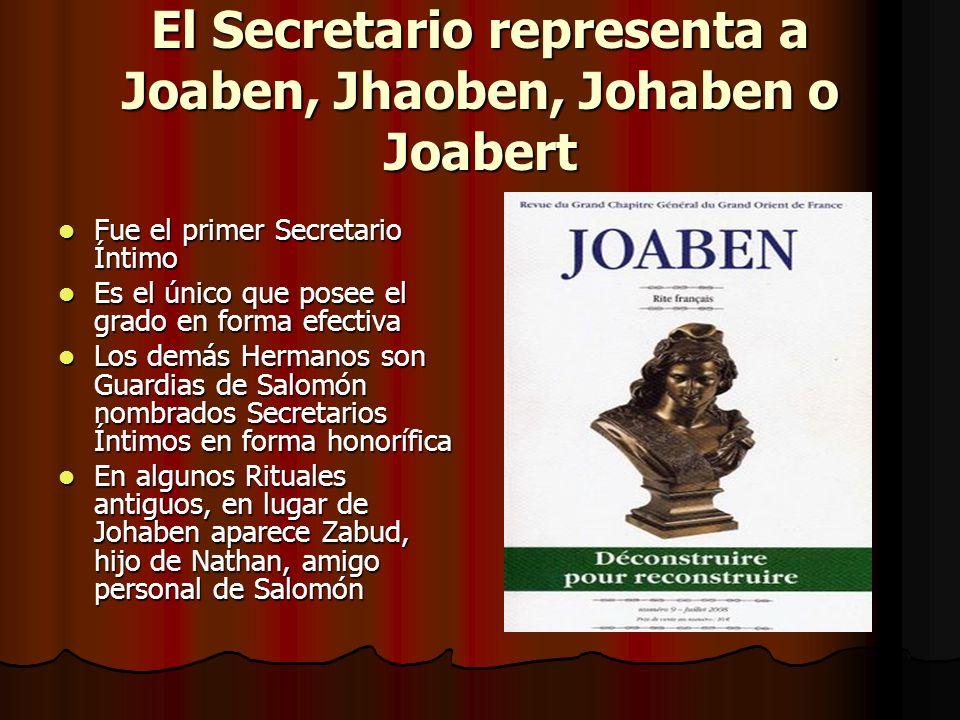 El Secretario representa a Joaben, Jhaoben, Johaben o Joabert Fue el primer Secretario Íntimo Fue el primer Secretario Íntimo Es el único que posee el