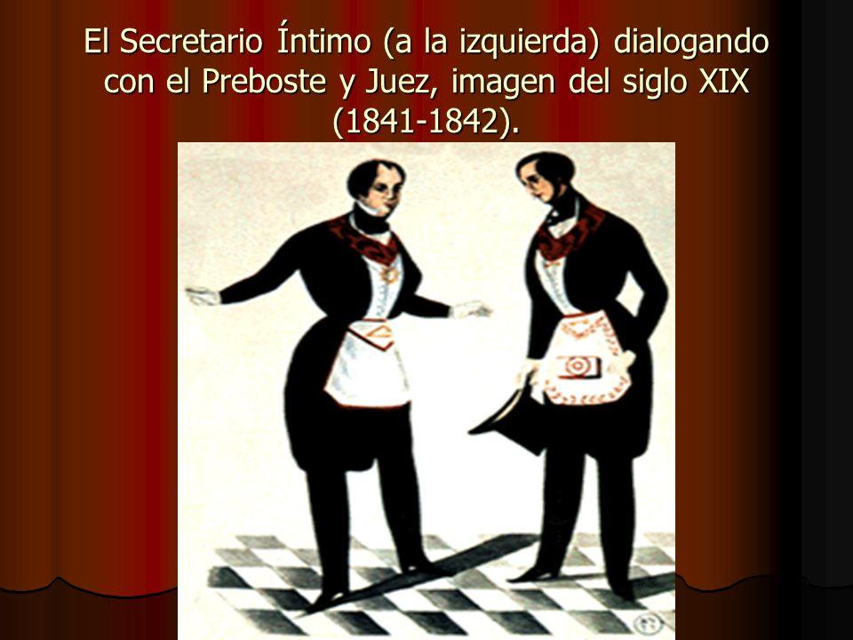 El Secretario Íntimo (a la izquierda) dialogando con el Preboste y Juez, imagen del siglo XIX (1841-1842).