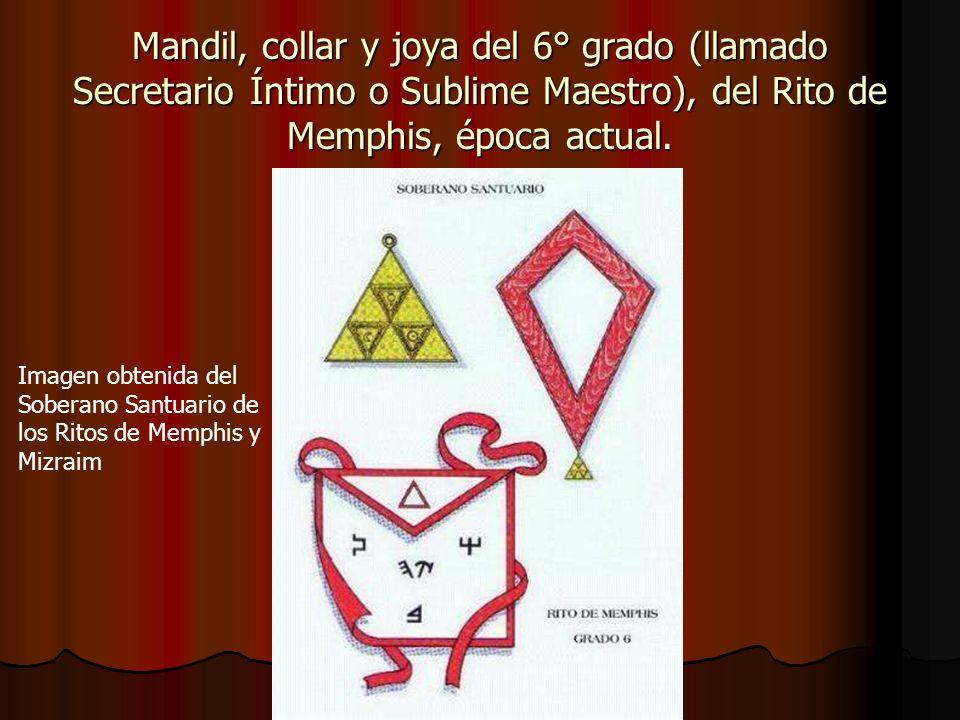 Mandil, collar y joya del 6° grado (llamado Secretario Íntimo o Sublime Maestro), del Rito de Memphis, época actual. Imagen obtenida del Soberano Sant
