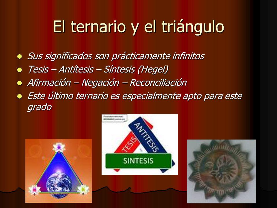 El ternario y el triángulo Sus significados son prácticamente infinitos Sus significados son prácticamente infinitos Tesis – Antítesis – Síntesis (Heg