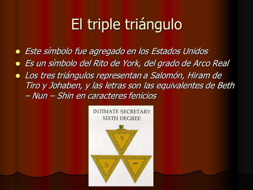 El triple triángulo Este símbolo fue agregado en los Estados Unidos Este símbolo fue agregado en los Estados Unidos Es un símbolo del Rito de York, de