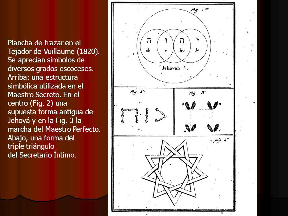 Plancha de trazar en el Tejador de Vuillaume (1820). Se aprecian símbolos de diversos grados escoceses. Arriba: una estructura simbólica utilizada en