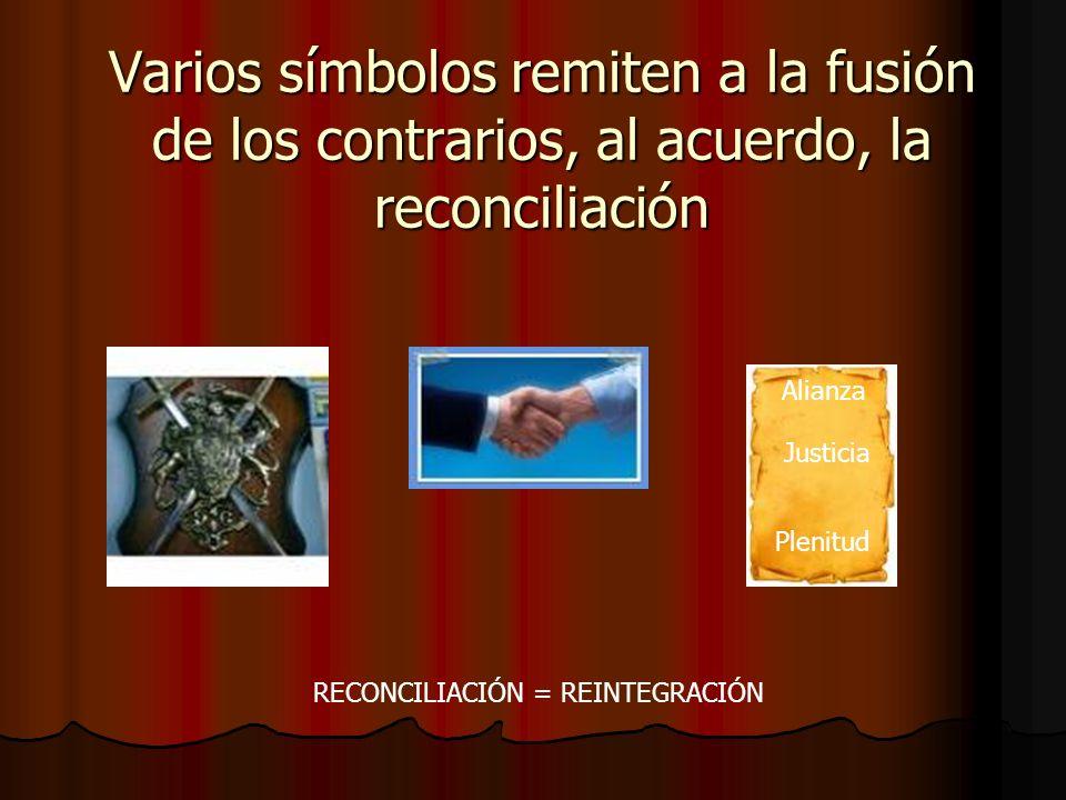 Varios símbolos remiten a la fusión de los contrarios, al acuerdo, la reconciliación Alianza Justicia Plenitud RECONCILIACIÓN = REINTEGRACIÓN