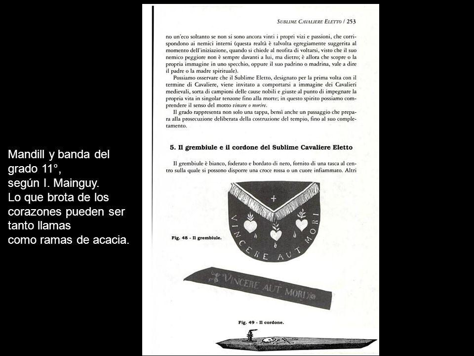 Mandil y cordón del Supremo Consejo de Estados Unidos, Jurisdicción Norte, siglo XIX Obsérvese que el mandil es triangular, frente a la forma rectangular o cuadrangular más habitual.