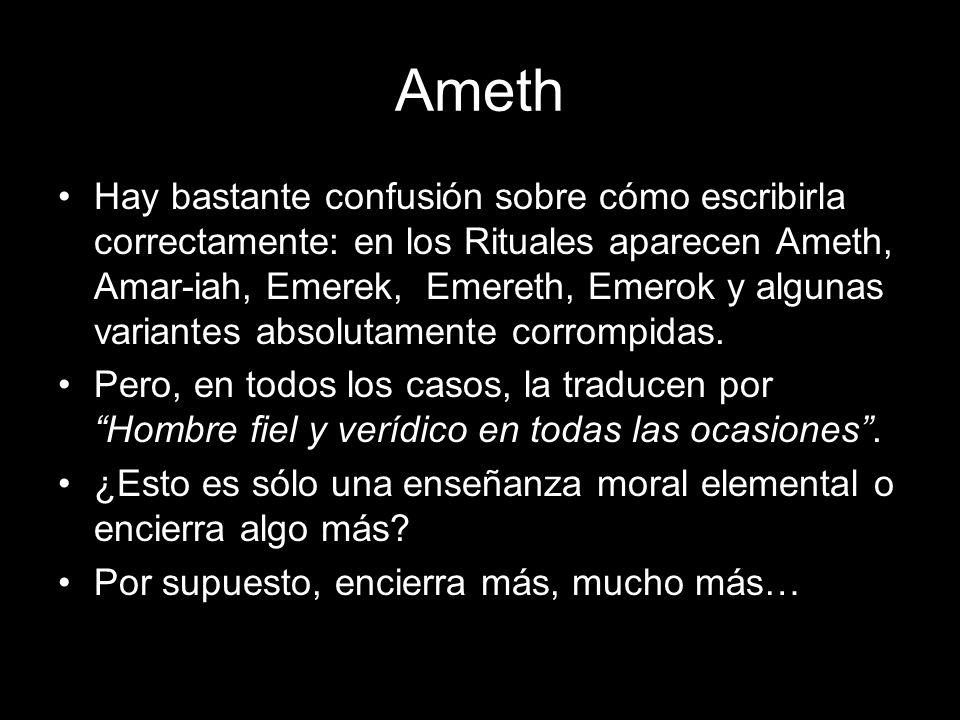 Ameth Para Pike, Ameth encierra las ideas de: verdad, justicia, rectitud, sinceridad, fidelidad, integridad, firmeza, estabilidad, perpetuidad, permanencia.