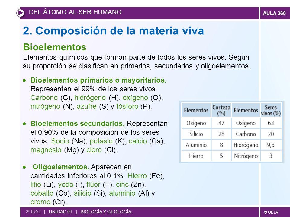 © GELV AULA 360 2. Composición de la materia viva DEL ÁTOMO AL SER HUMANO 3º ESO | UNIDAD 01 | BIOLOGÍA Y GEOLOGÍA Bioelementos Elementos químicos que