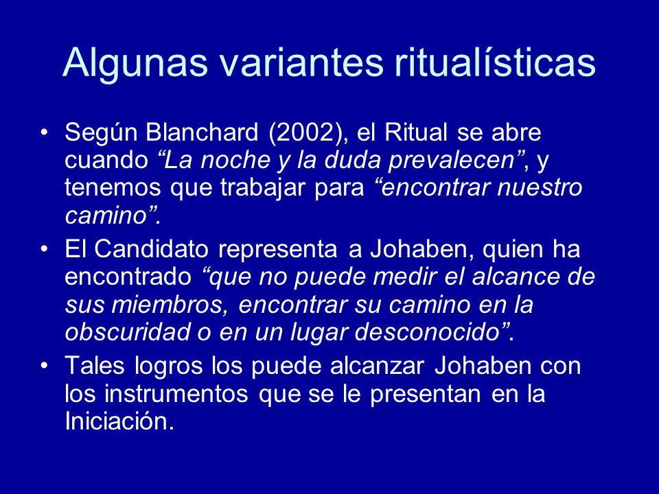 Algunas variantes ritualísticas Según Blanchard (2002), el Ritual se abre cuando La noche y la duda prevalecen, y tenemos que trabajar para encontrar