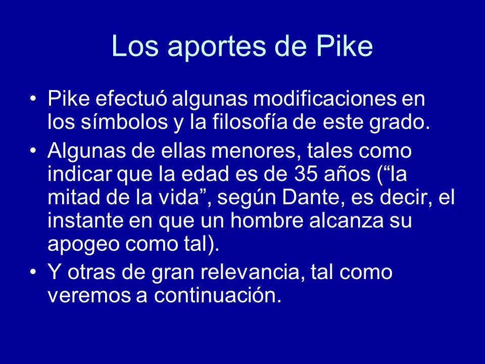 Los aportes de Pike Pike efectuó algunas modificaciones en los símbolos y la filosofía de este grado. Algunas de ellas menores, tales como indicar que