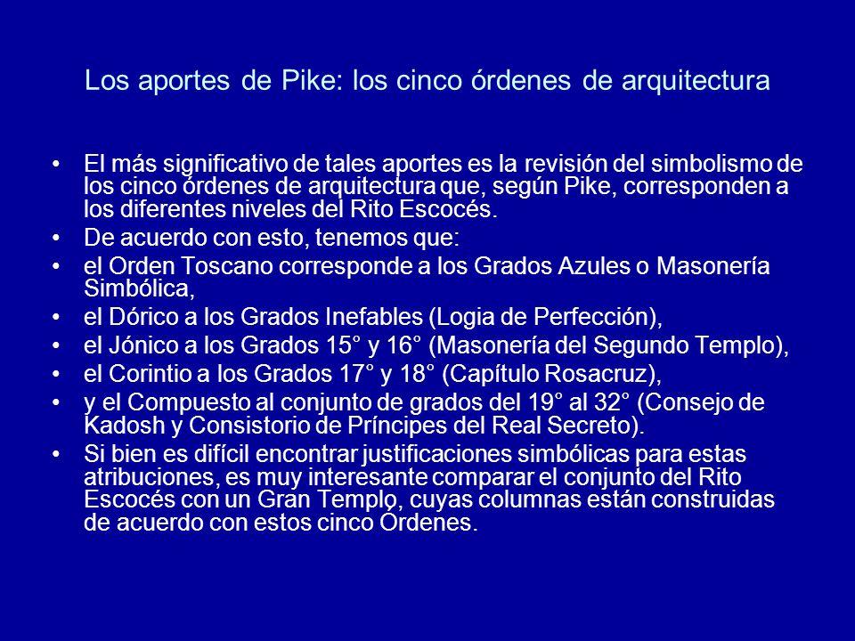 Los aportes de Pike: los cinco órdenes de arquitectura El más significativo de tales aportes es la revisión del simbolismo de los cinco órdenes de arq