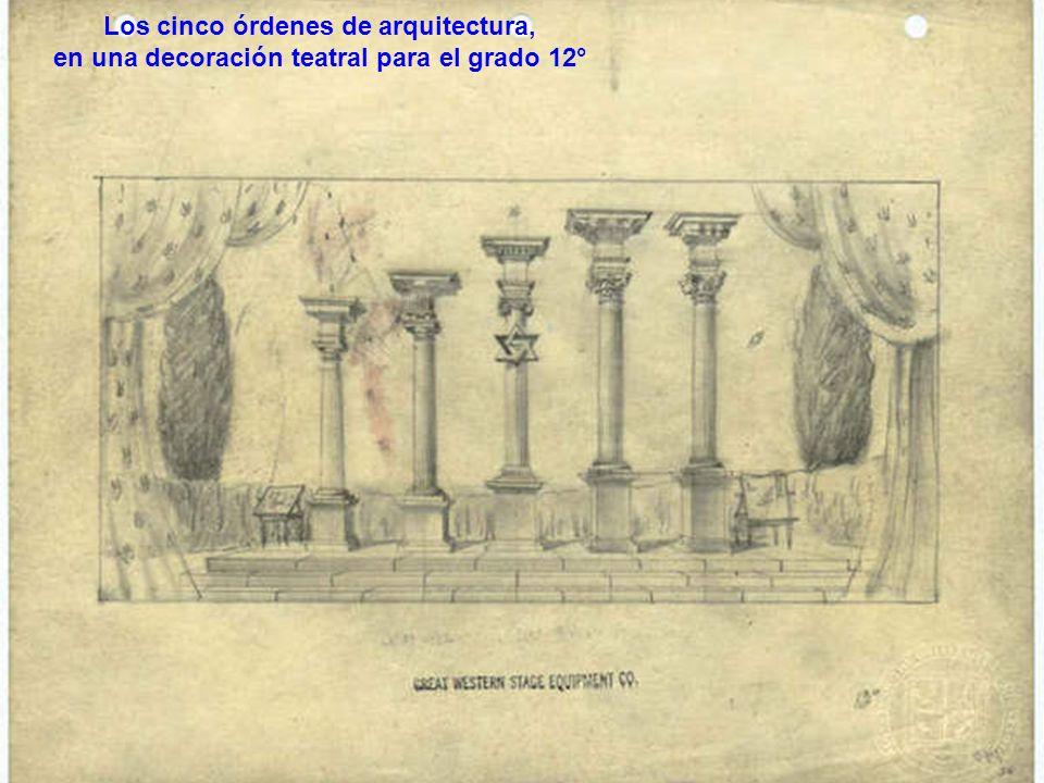 Los cinco órdenes de arquitectura, en una decoración teatral para el grado 12°