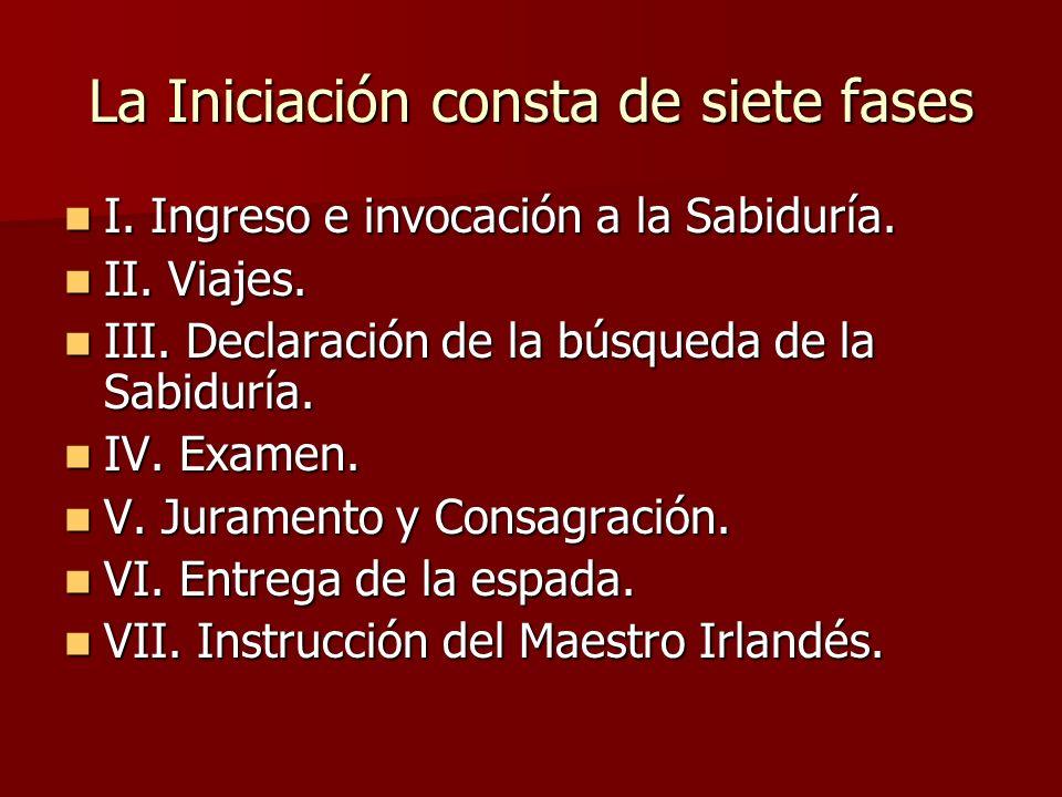 La Iniciación consta de siete fases I. Ingreso e invocación a la Sabiduría. I. Ingreso e invocación a la Sabiduría. II. Viajes. II. Viajes. III. Decla