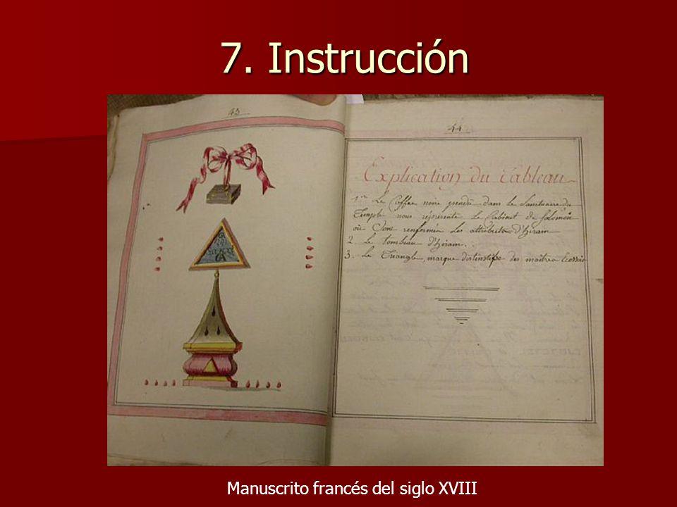 7. Instrucción Manuscrito francés del siglo XVIII