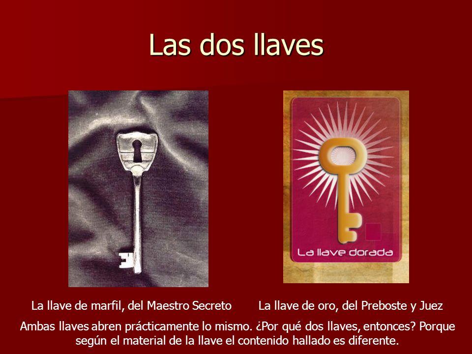 Las dos llaves La llave de marfil, del Maestro SecretoLa llave de oro, del Preboste y Juez Ambas llaves abren prácticamente lo mismo. ¿Por qué dos lla