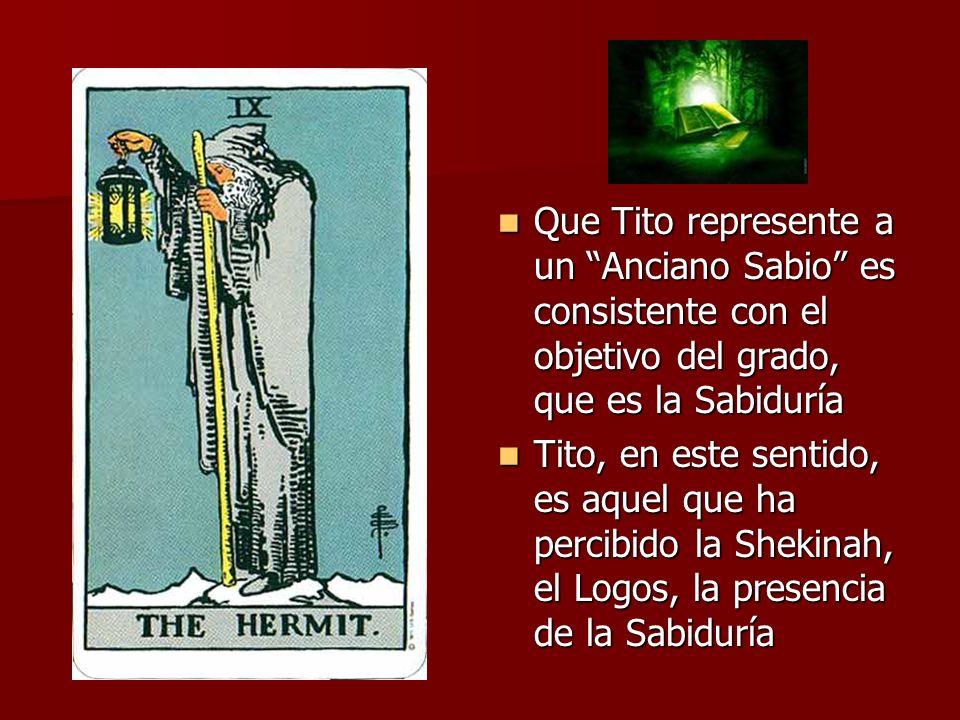 Que Tito represente a un Anciano Sabio es consistente con el objetivo del grado, que es la Sabiduría Que Tito represente a un Anciano Sabio es consist