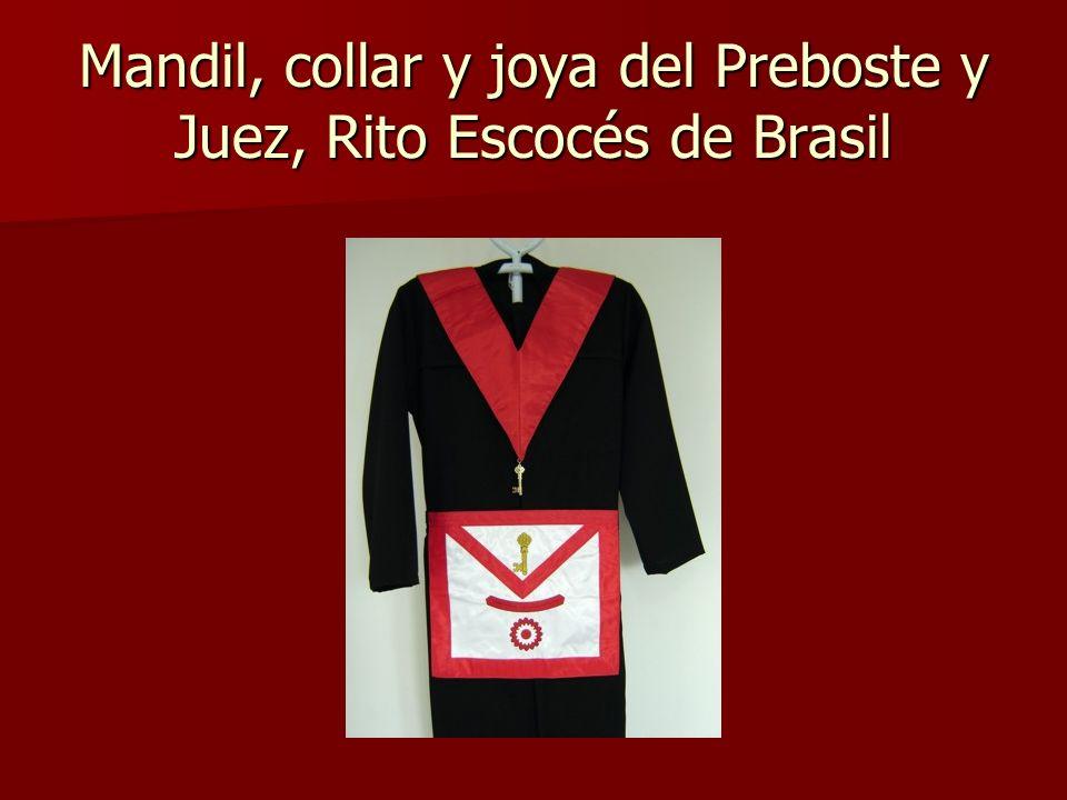 Mandil, collar y joya del Preboste y Juez, Rito Escocés de Brasil