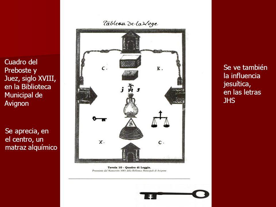 Cuadro del Preboste y Juez, siglo XVIII, en la Biblioteca Municipal de Avignon Se aprecia, en el centro, un matraz alquímico Se ve también la influenc