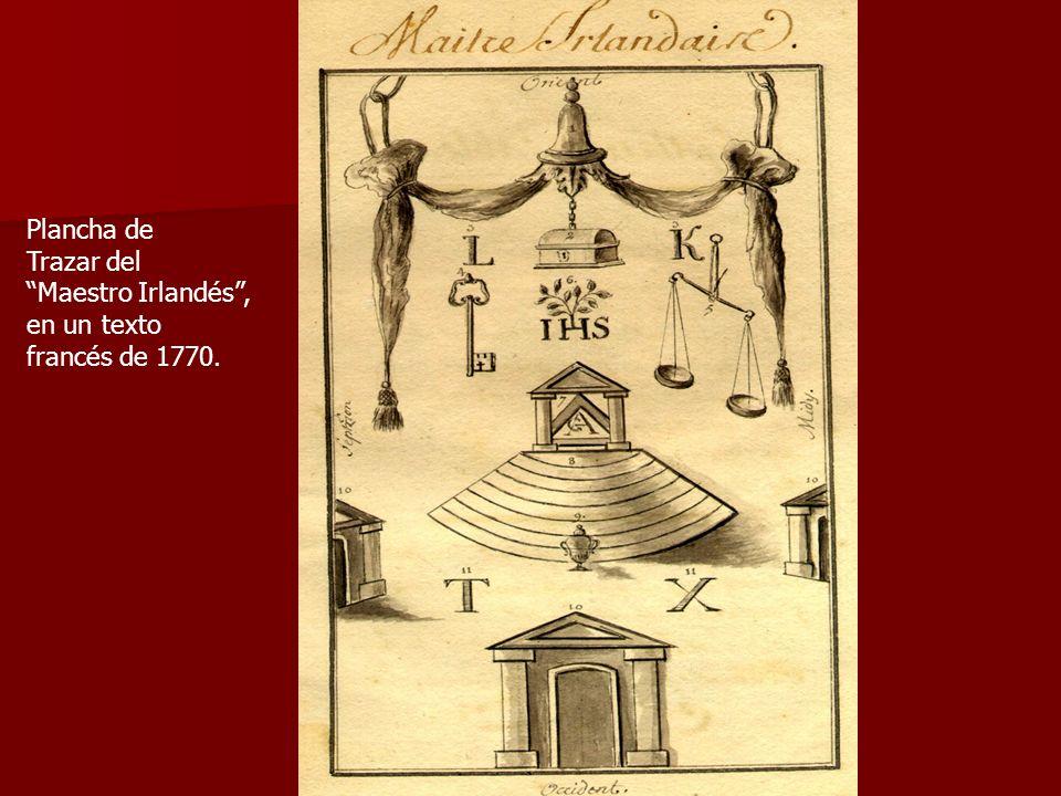 Plancha de Trazar del Maestro Irlandés, en un texto francés de 1770.