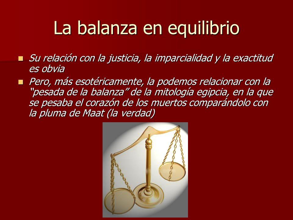 La balanza en equilibrio Su relación con la justicia, la imparcialidad y la exactitud es obvia Su relación con la justicia, la imparcialidad y la exac