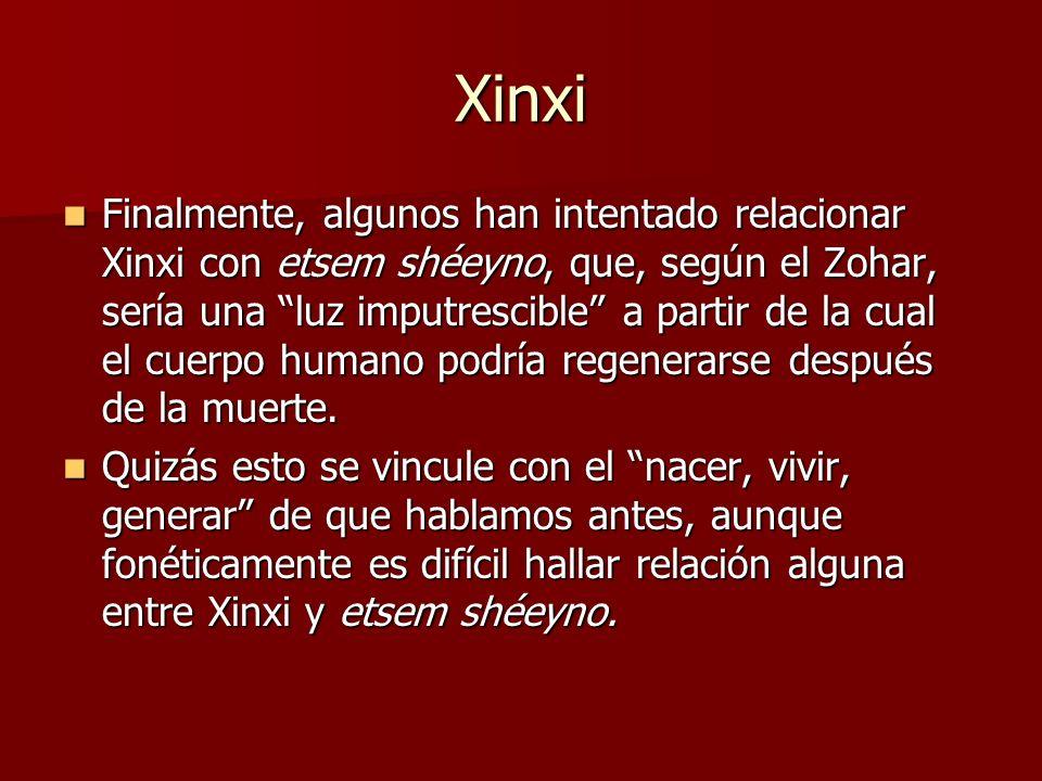 Xinxi Finalmente, algunos han intentado relacionar Xinxi con etsem shéeyno, que, según el Zohar, sería una luz imputrescible a partir de la cual el cu