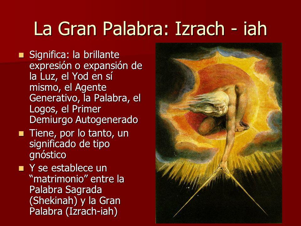 La Gran Palabra: Izrach - iah Significa: la brillante expresión o expansión de la Luz, el Yod en sí mismo, el Agente Generativo, la Palabra, el Logos,