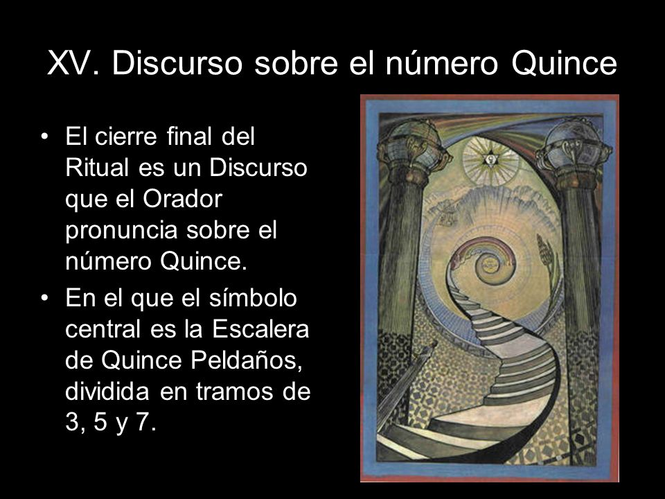 XV. Discurso sobre el número Quince El cierre final del Ritual es un Discurso que el Orador pronuncia sobre el número Quince. En el que el símbolo cen