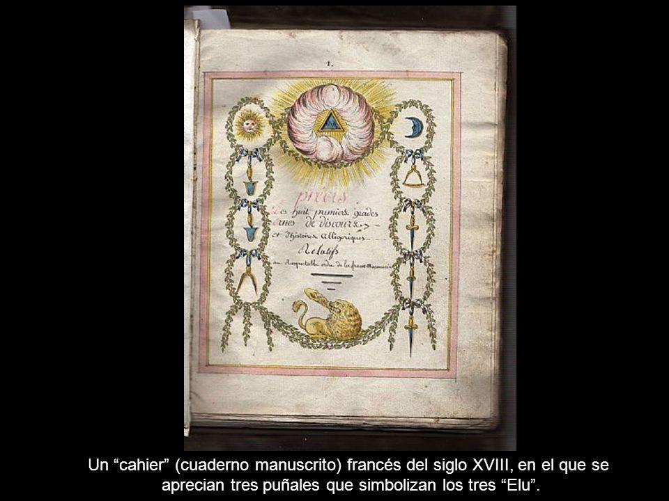 Un cahier (cuaderno manuscrito) francés del siglo XVIII, en el que se aprecian tres puñales que simbolizan los tres Elu.