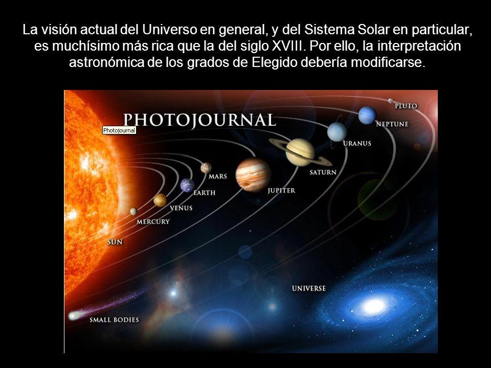 La visión actual del Universo en general, y del Sistema Solar en particular, es muchísimo más rica que la del siglo XVIII. Por ello, la interpretación