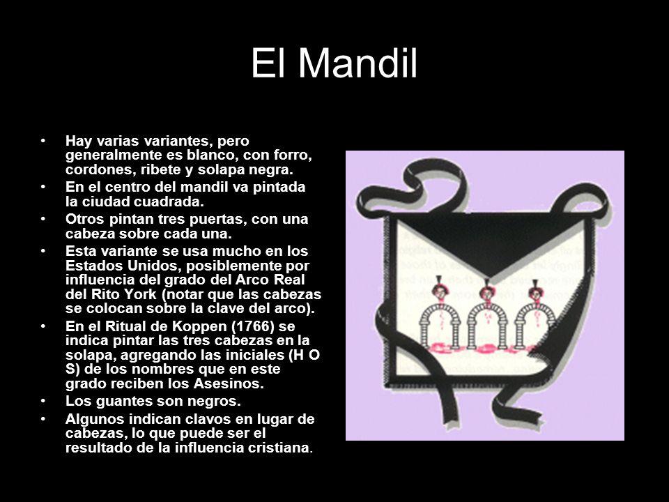 El Mandil Hay varias variantes, pero generalmente es blanco, con forro, cordones, ribete y solapa negra. En el centro del mandil va pintada la ciudad