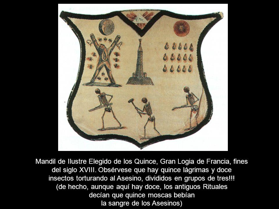 Mandil de Ilustre Elegido de los Quince, Gran Logia de Francia, fines del siglo XVIII. Obsérvese que hay quince lágrimas y doce insectos torturando al