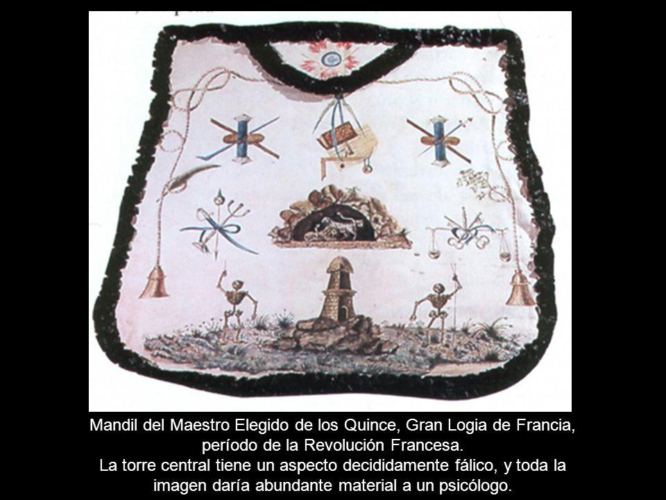 Mandil del Maestro Elegido de los Quince, Gran Logia de Francia, período de la Revolución Francesa. La torre central tiene un aspecto decididamente fá