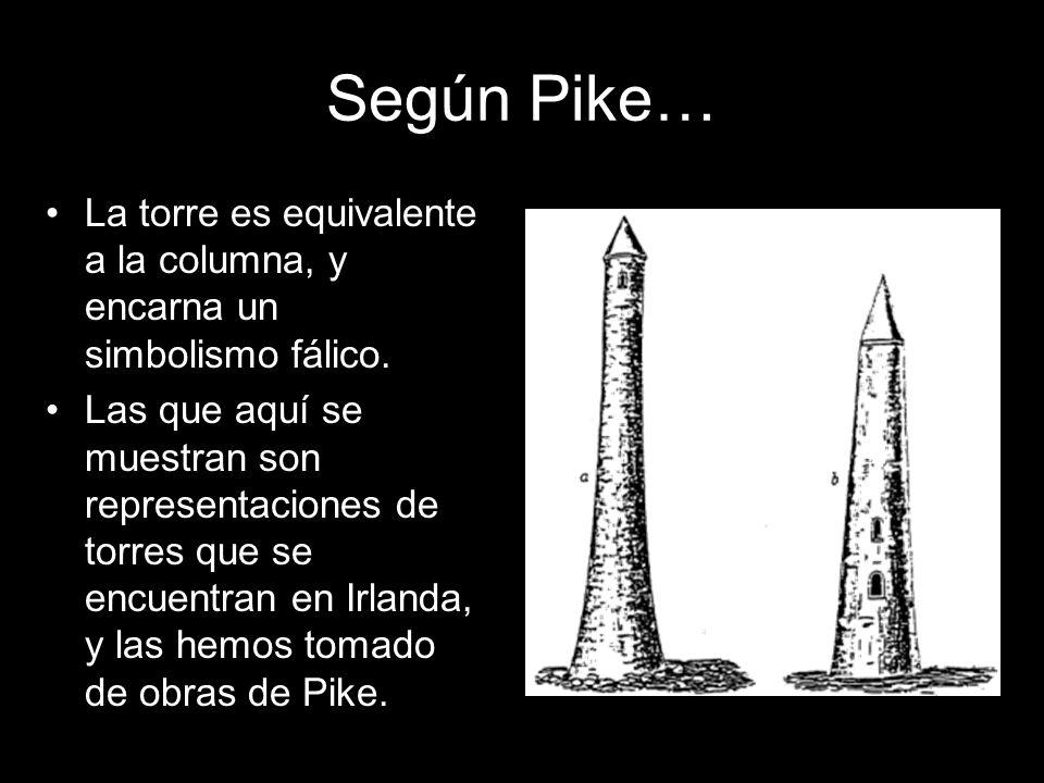 Según Pike… La torre es equivalente a la columna, y encarna un simbolismo fálico. Las que aquí se muestran son representaciones de torres que se encue