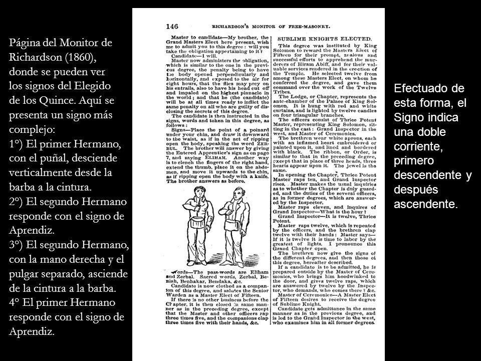 Página del Monitor de Richardson (1860), donde se pueden ver los signos del Elegido de los Quince. Aquí se presenta un signo más complejo: 1°) El prim