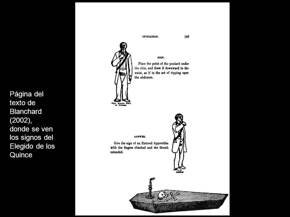 Página del texto de Blanchard (2002), donde se ven los signos del Elegido de los Quince