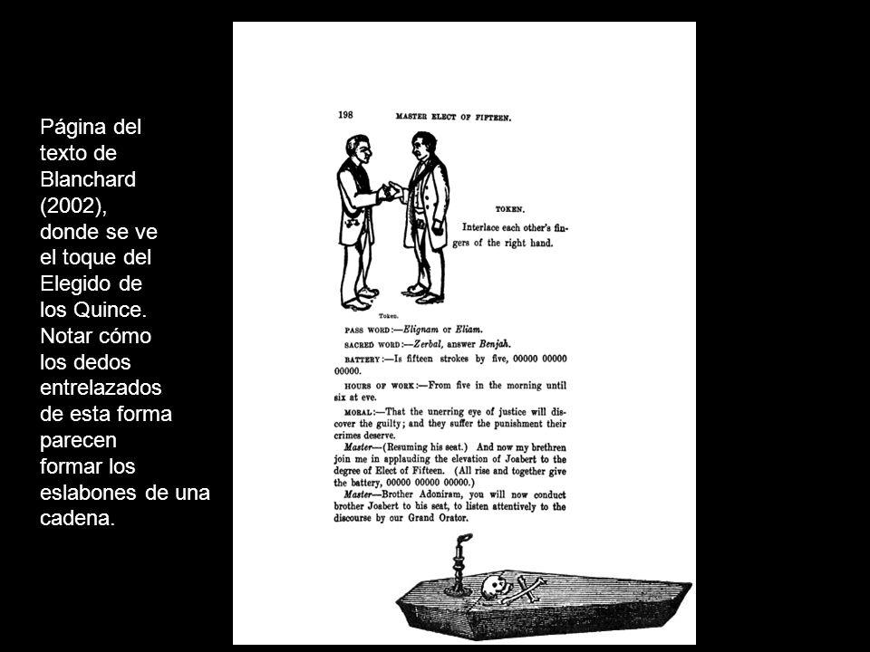 Página del texto de Blanchard (2002), donde se ve el toque del Elegido de los Quince. Notar cómo los dedos entrelazados de esta forma parecen formar l