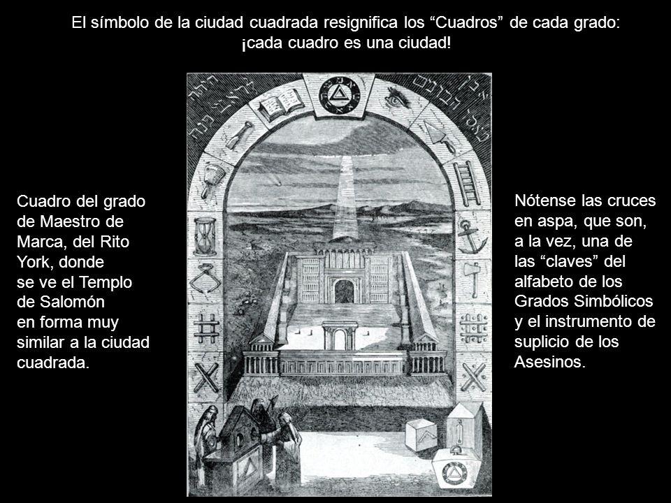 El símbolo de la ciudad cuadrada resignifica los Cuadros de cada grado: ¡cada cuadro es una ciudad! Cuadro del grado de Maestro de Marca, del Rito Yor
