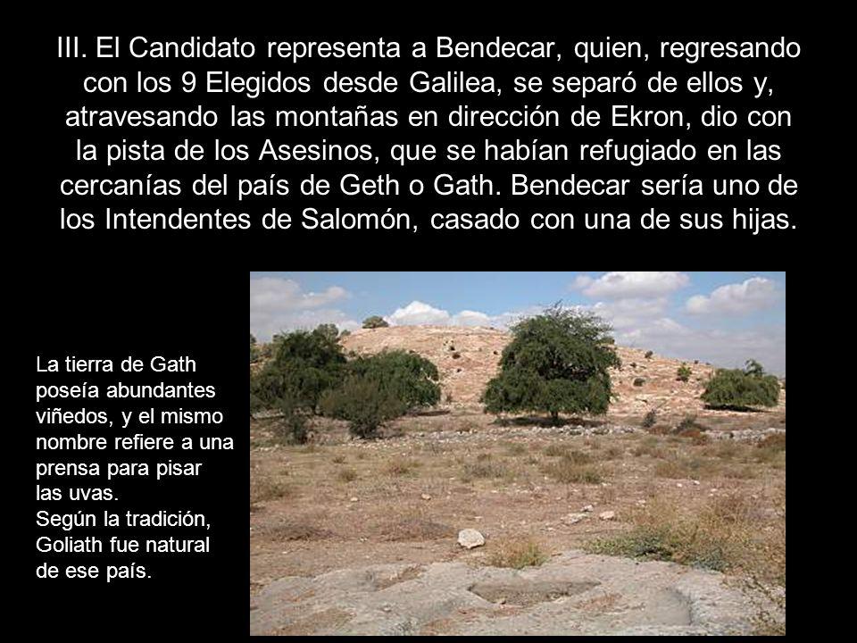 III. El Candidato representa a Bendecar, quien, regresando con los 9 Elegidos desde Galilea, se separó de ellos y, atravesando las montañas en direcci