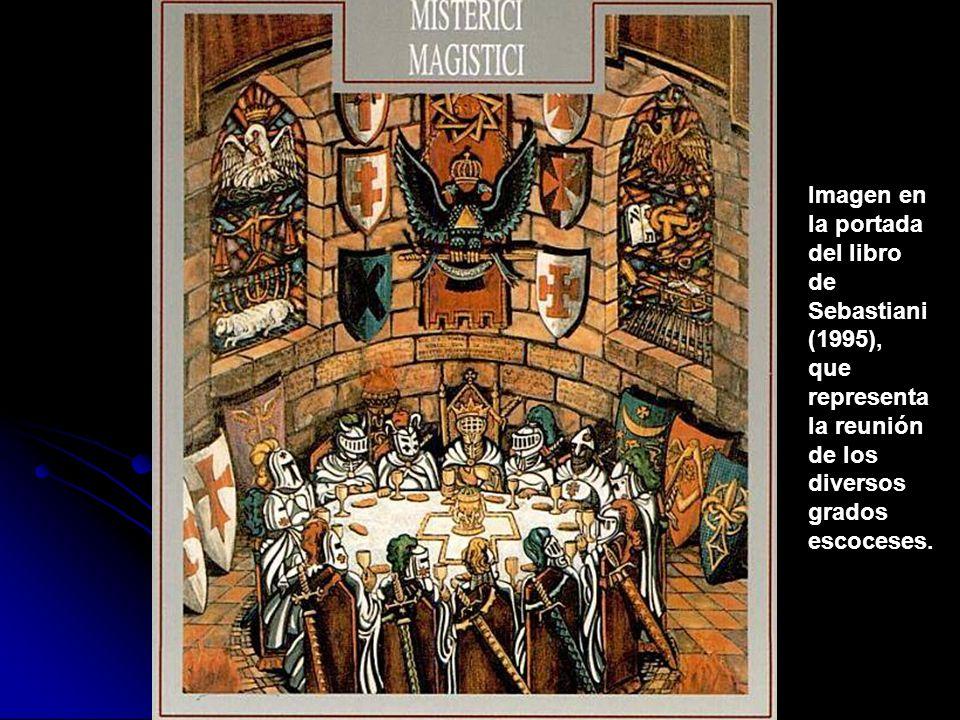 La versión del escudo en el Ritual del Supremo Consejo de Italia, en el que se indica que la llave es de plata, en lugar de marfil, que es lo más habitual.